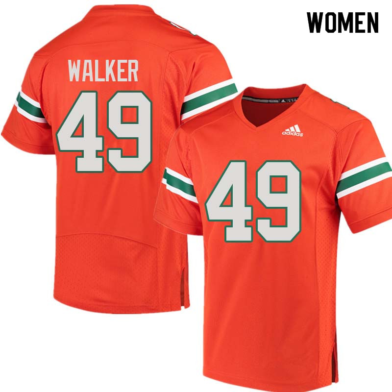 Women Miami Hurricanes #49 Shawn Walker College Football Jerseys Sale-Orange